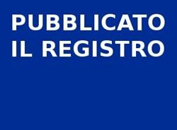 Pubblicato il Registro